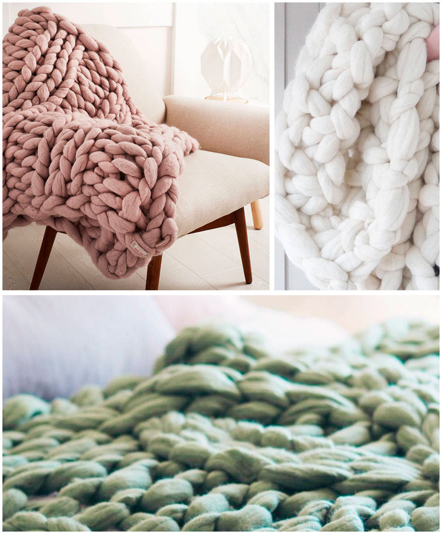 Lauren Aston chunky knit wool blanket from Not On The Highstreet