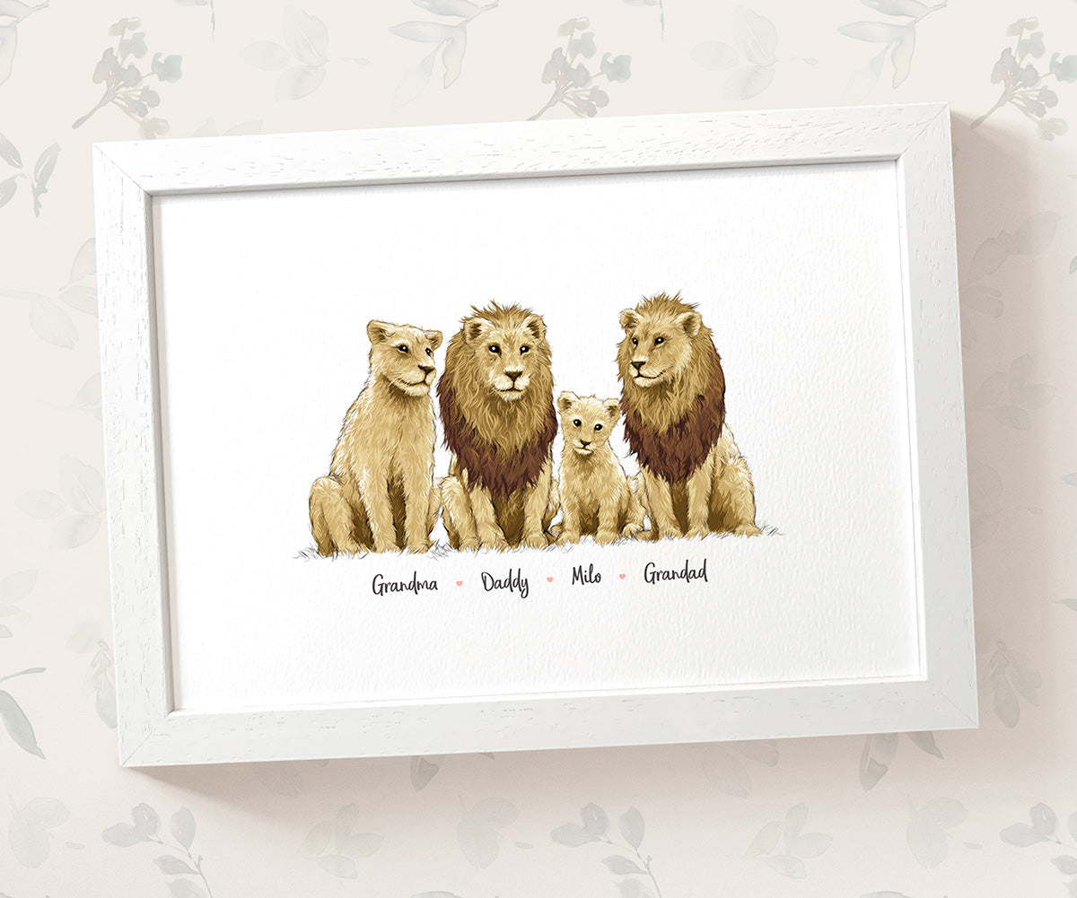 Personalised Lion Family Portrait with Names