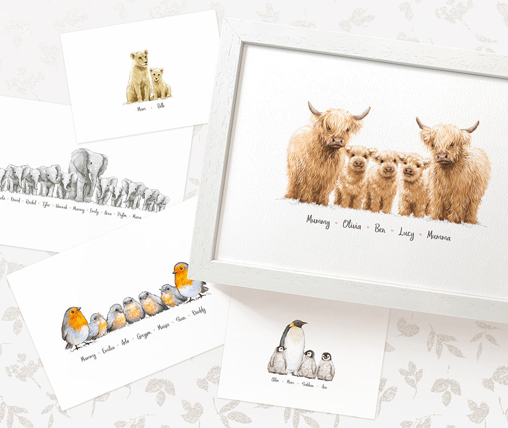 Personalised Animal Family Prints - Mother and Children