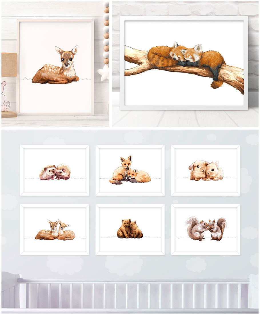 Pawprint Illustration baby animal nursery prints