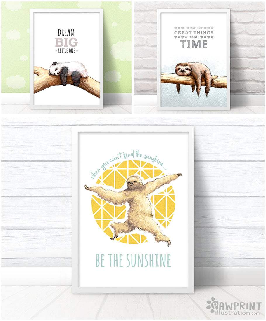 Inspirational Nursery Prints with Quotes by Pawprint Illustration