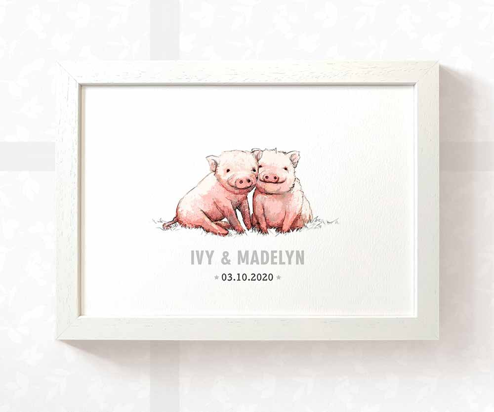 Pig Twin Baby Name Birth Date Print