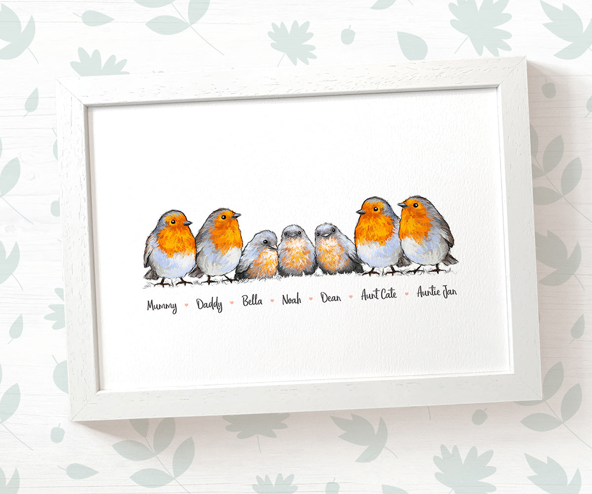 Personalised Robin Family Portrait with Names