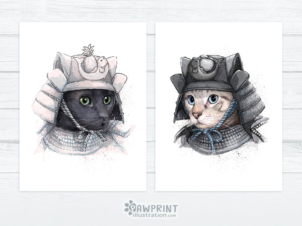Tom and Momo the Samurai Cats - Cats in Armour custom pet portrait request