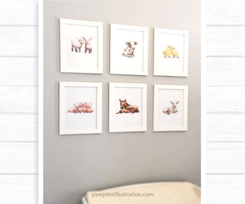 Farm animal framed nursery prints featuring baby chicks, lamb, cow, goats, horses and pigs