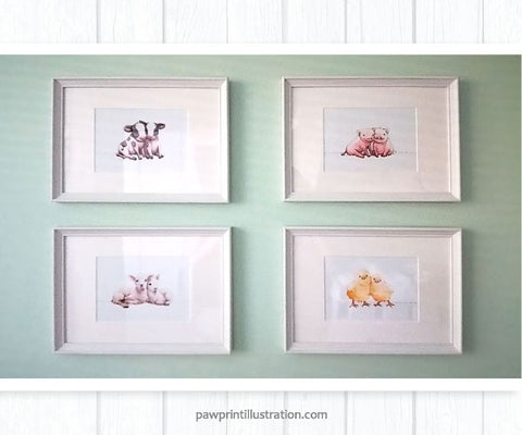Twin farm animal framed nursery prints featuring baby chicks, lambs, cows and pigs