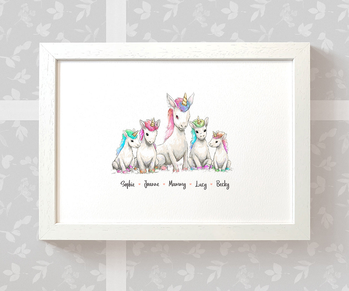Personalised Unicorn Family Portrait with Names