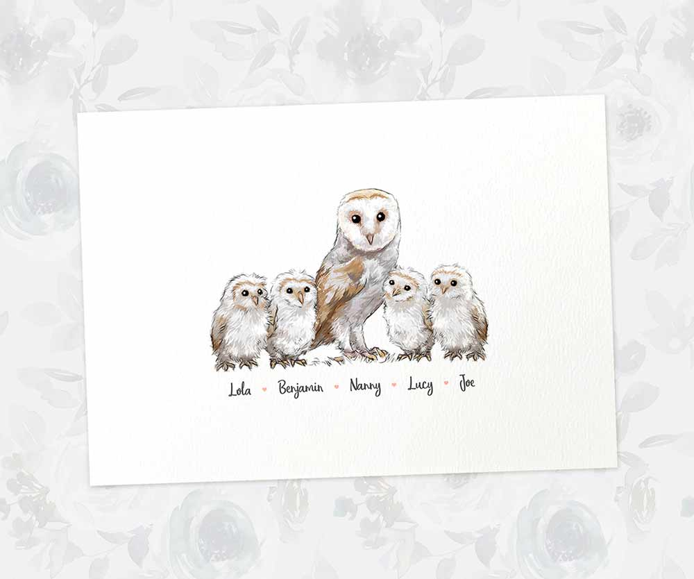 Personalised barn owl family name print