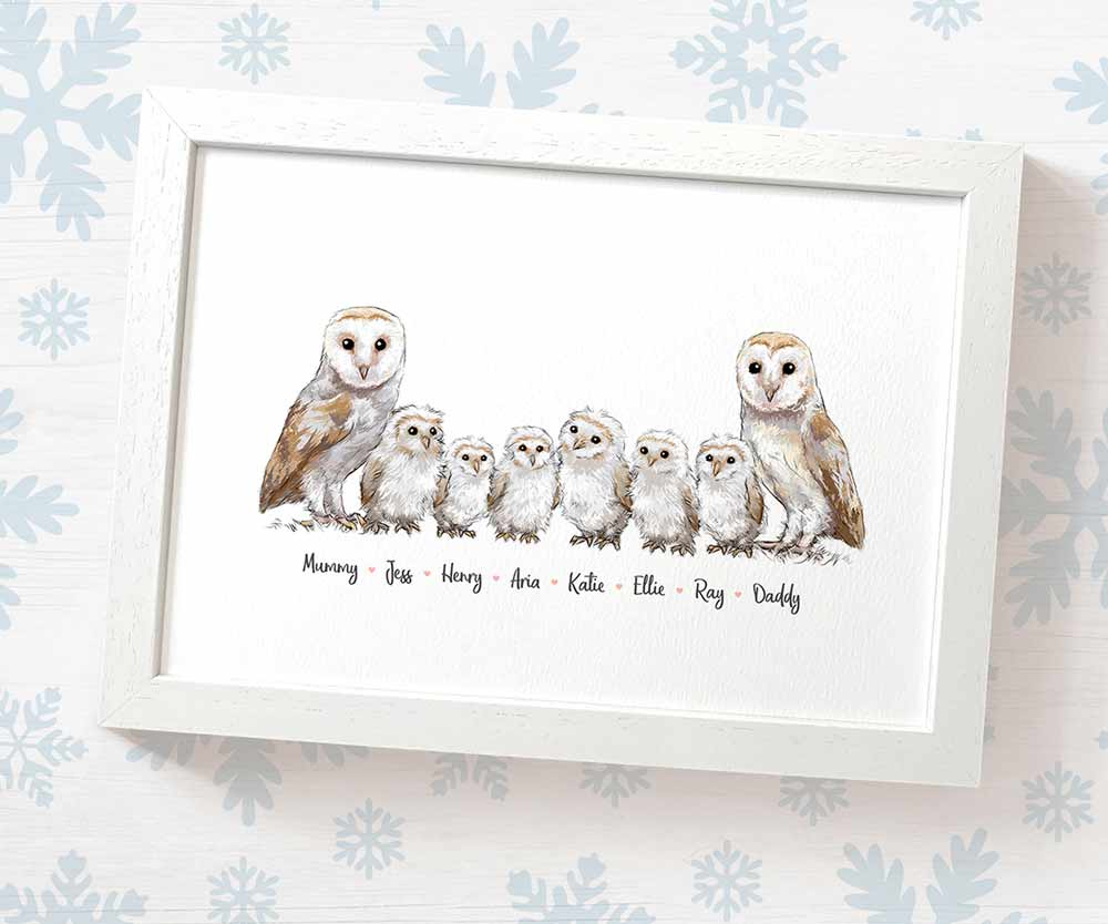 barn owl family print with parents and children