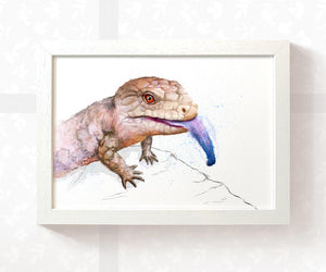 Blue Tongued Skink Reptile Art Print