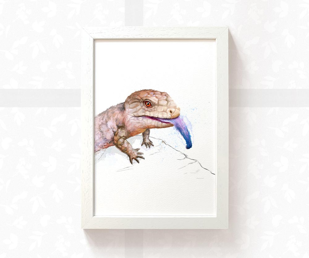 Blue Tongued Skink Art Print | Lizard Print - Pawprint Illustration