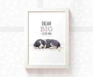"Border Collie Dog Nursery Art with quote ""Dream Big Little One"""
