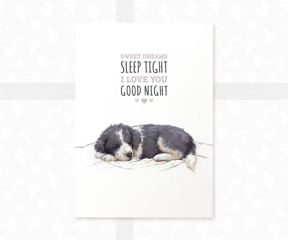 "Border Collie Dog Nursery Art with quote ""Sweet dreams, sleep tight, i love you, goodnight"""