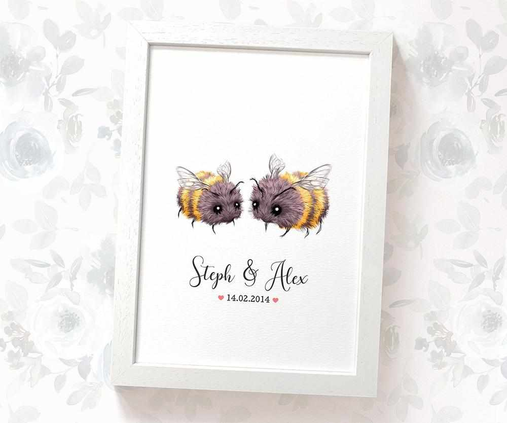 Bumble Bee anniversary print with names and date