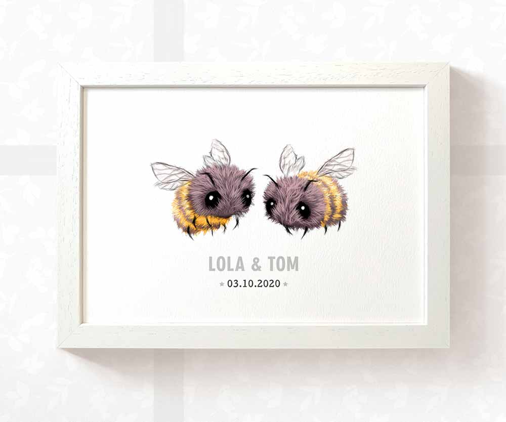 Twin baby bees name print