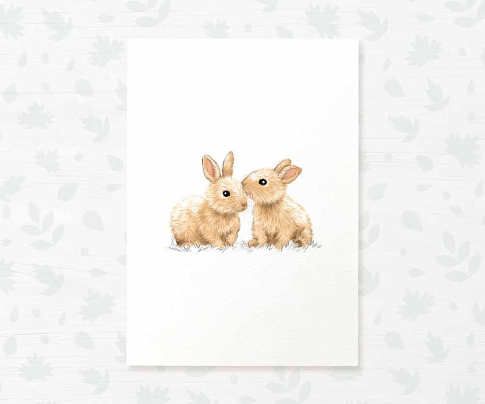twin bunny rabbit baby room art