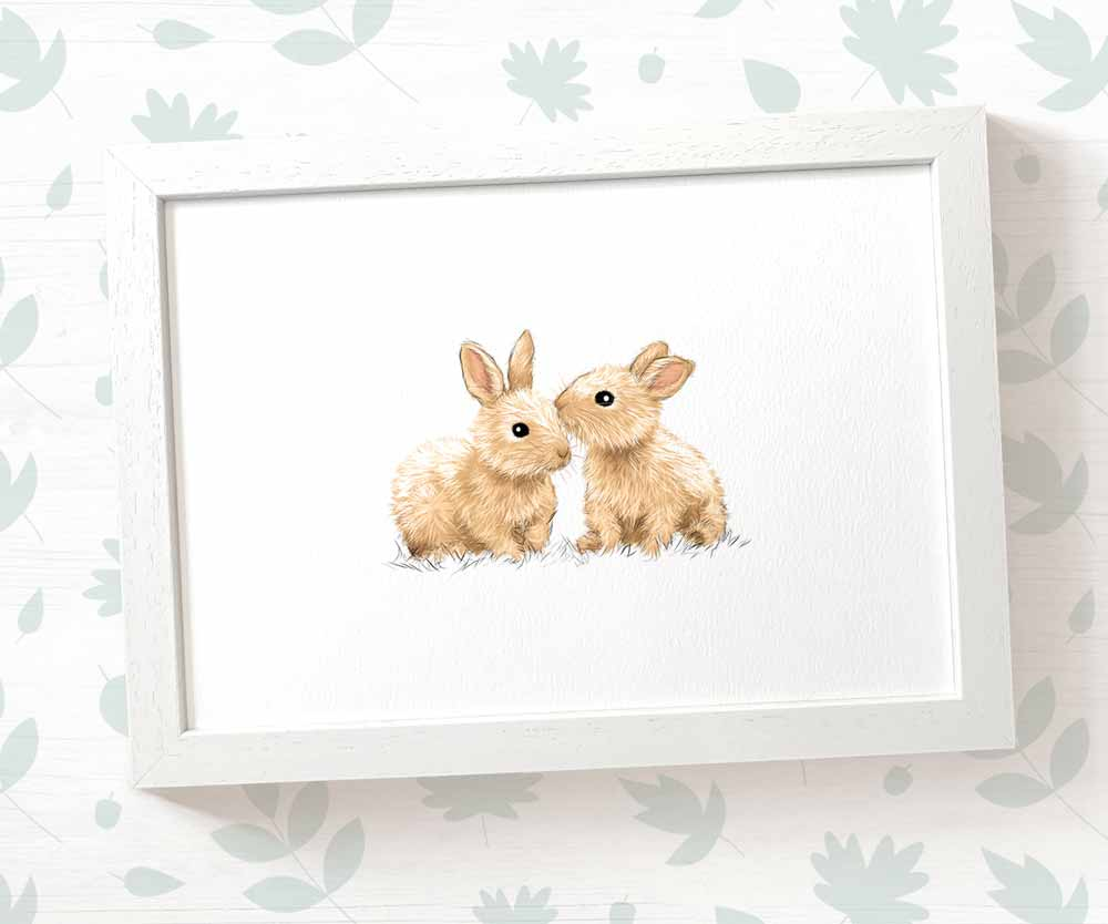 twin bunnies nursery print