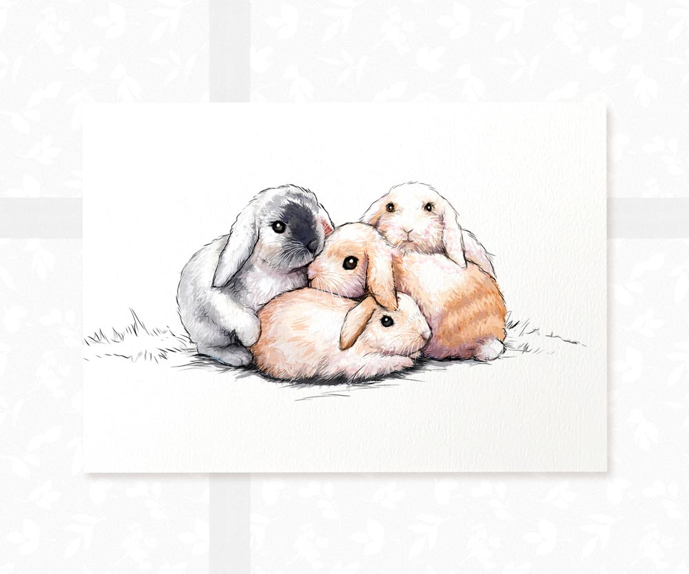 Bunny Rabbits Art Print | Three Bunnies Animal Wall Art - Pawprint Illustration