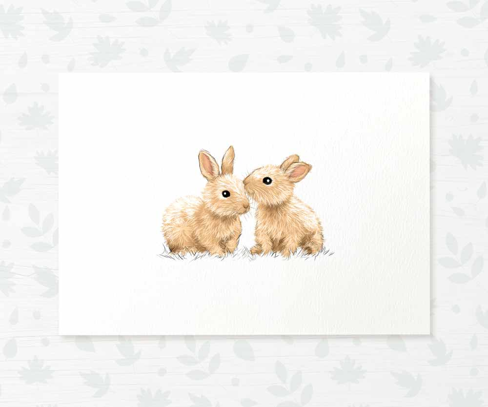 Twin bunny rabbit nursery print