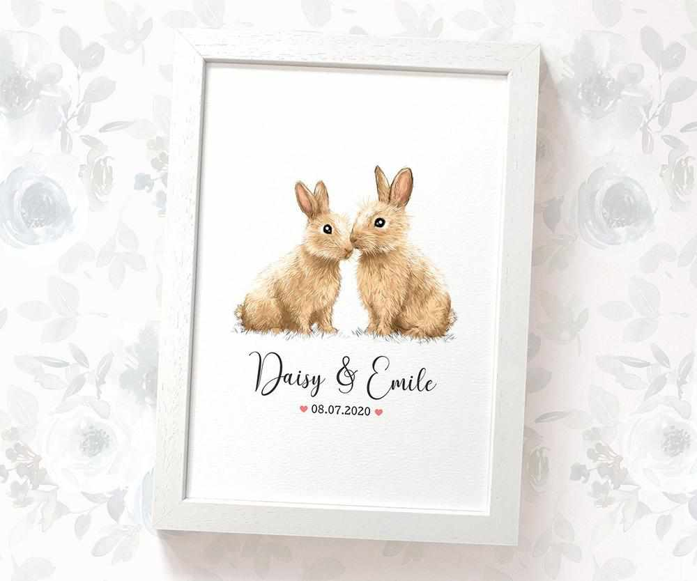 Bunnies anniversary print with names and date