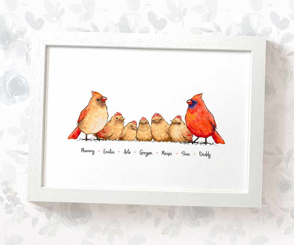 Cardinal Parents and babies family print