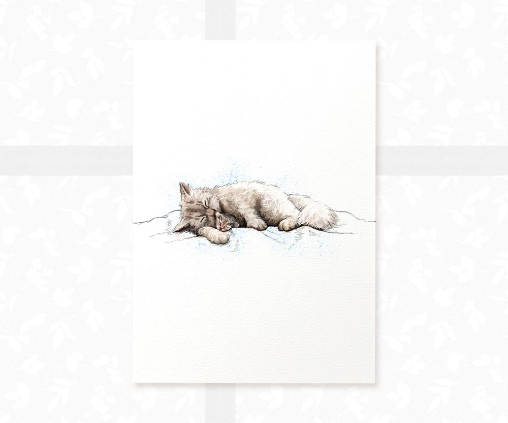 Cat and Kitten Nursery Wall Art | Mother and Baby Children's Art Print - Pawprint Illustration