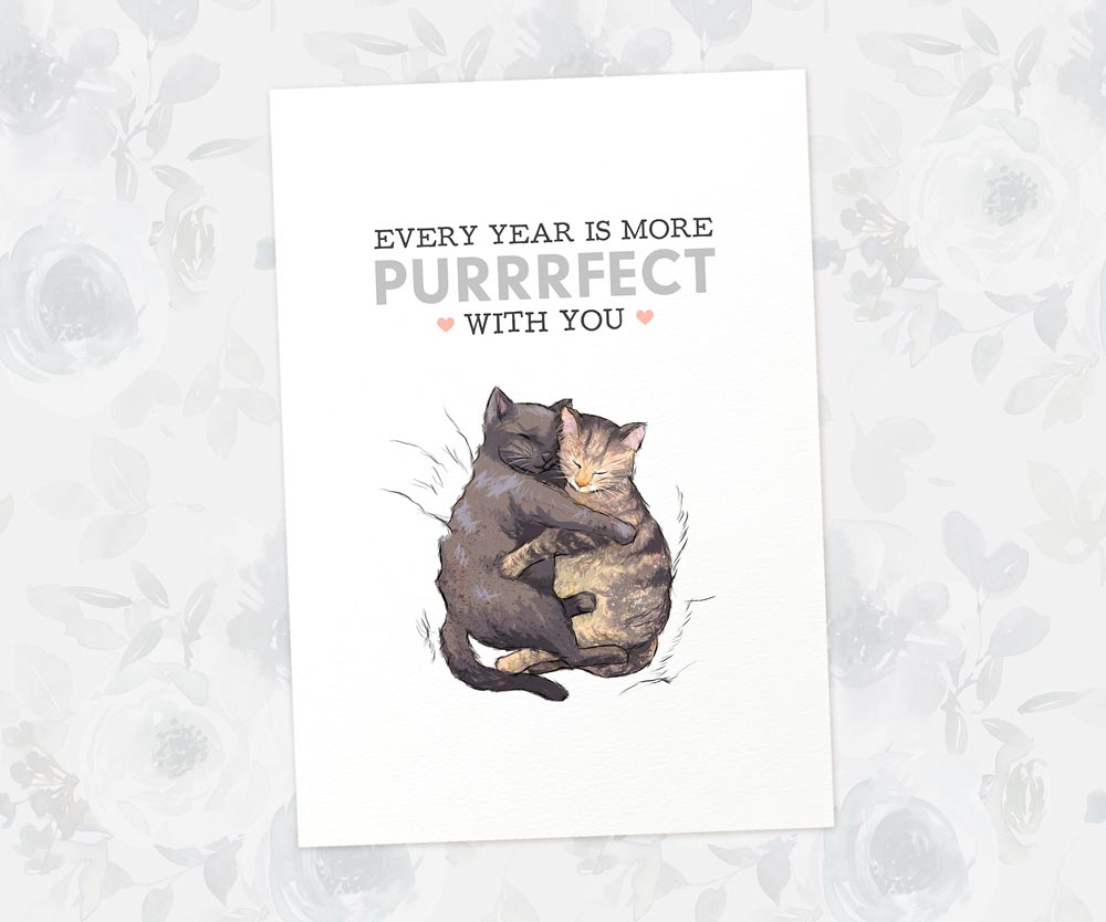 Cuddling Cats Anniversary Art Print | Every Year Is More Purrrfect With You - Pawprint Illustration