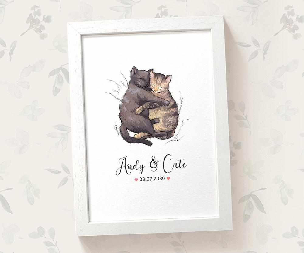 Cat anniversary print with names and date