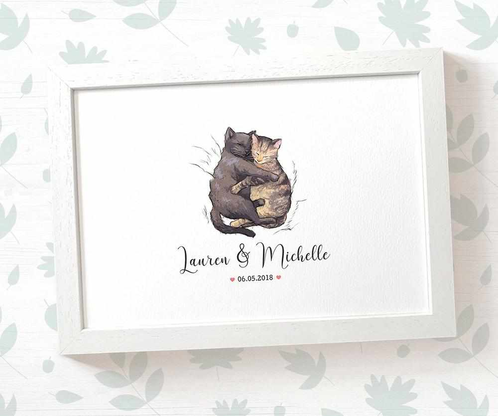 Cat couple wedding name and date print