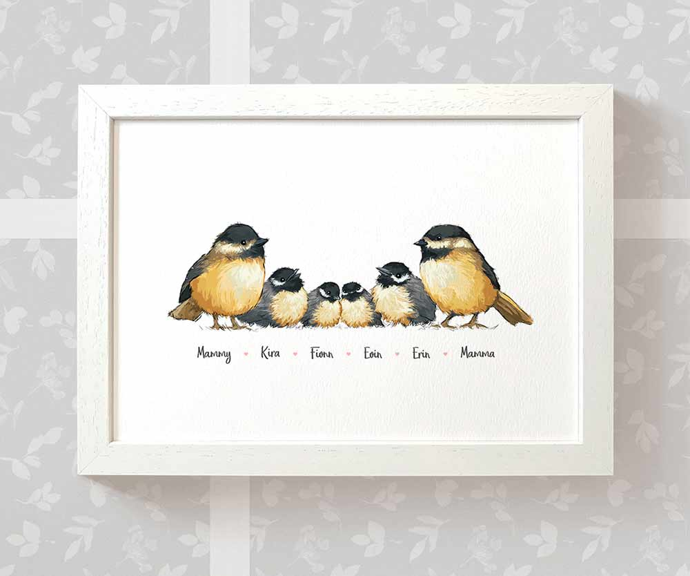 Chickadee family art print with names