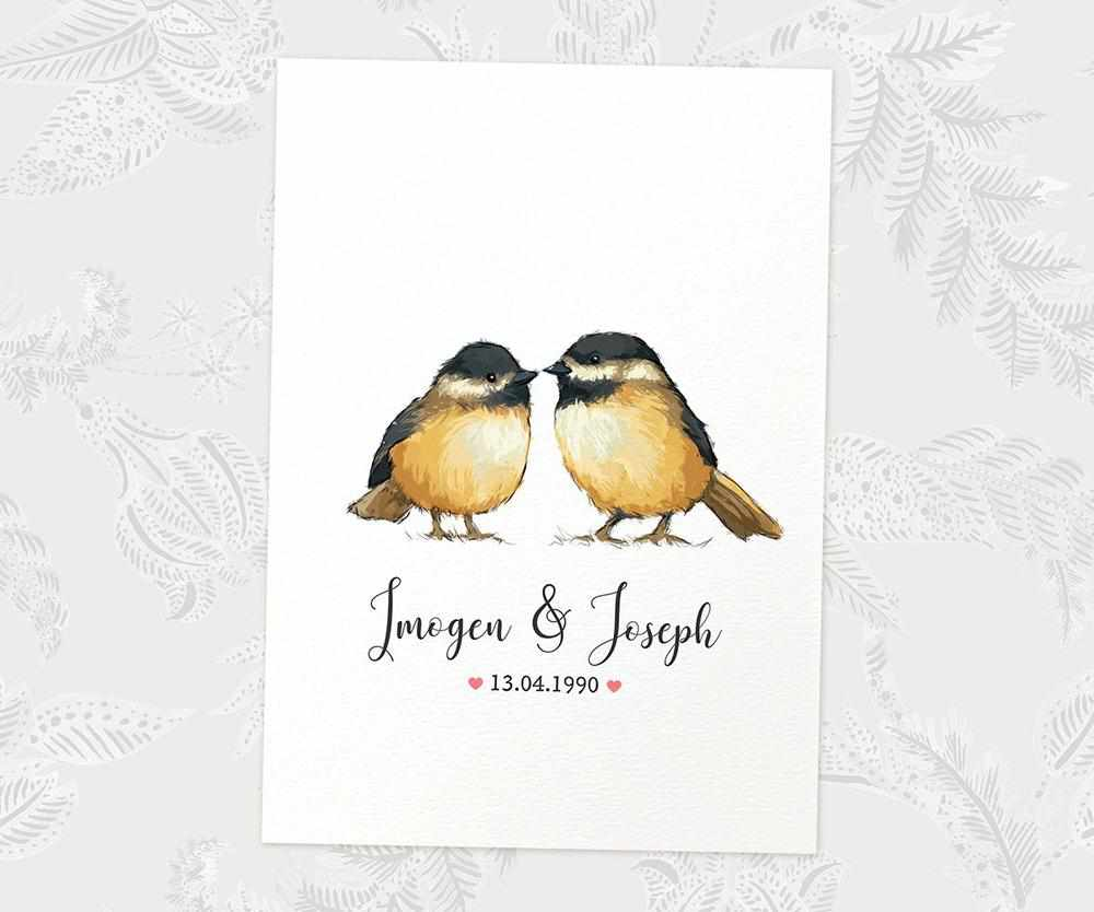 Chickadee  anniversary print with names and date