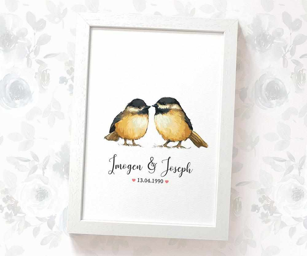 Chickadee couple wedding name and date print