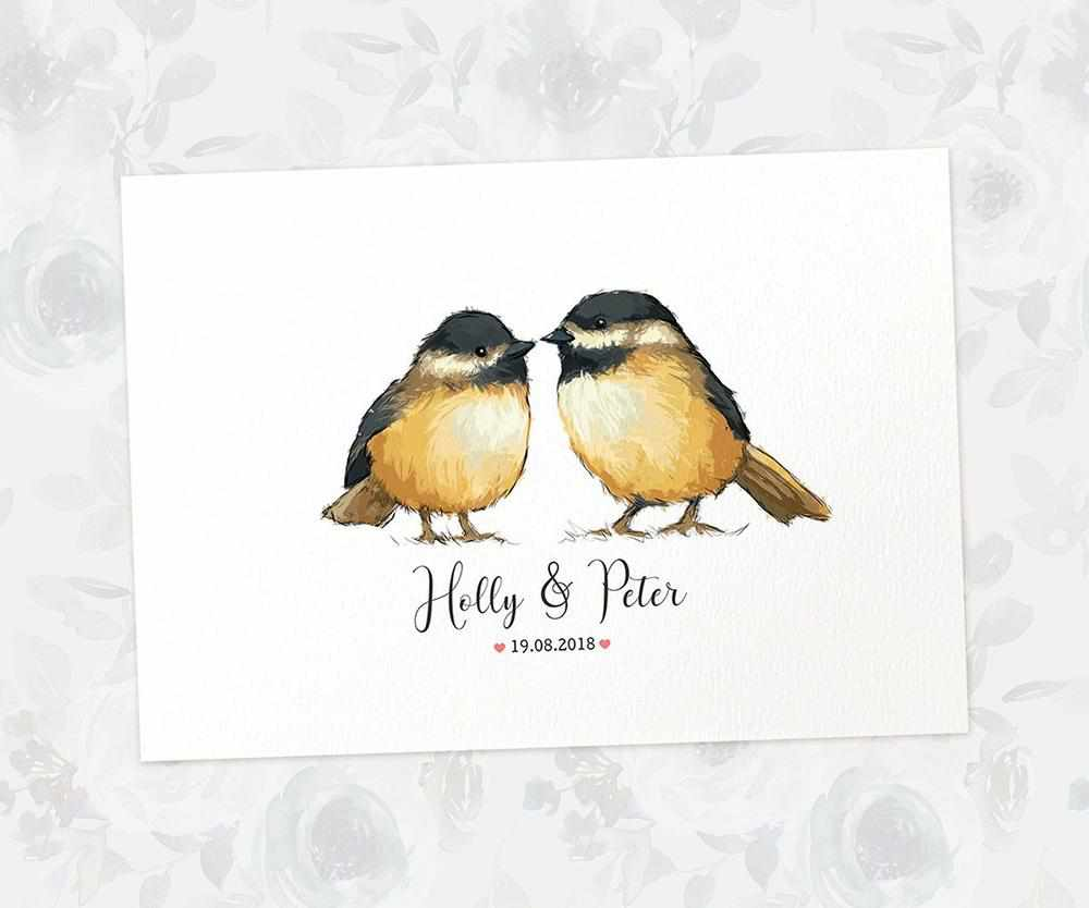 Chickadee bird wedding name sign