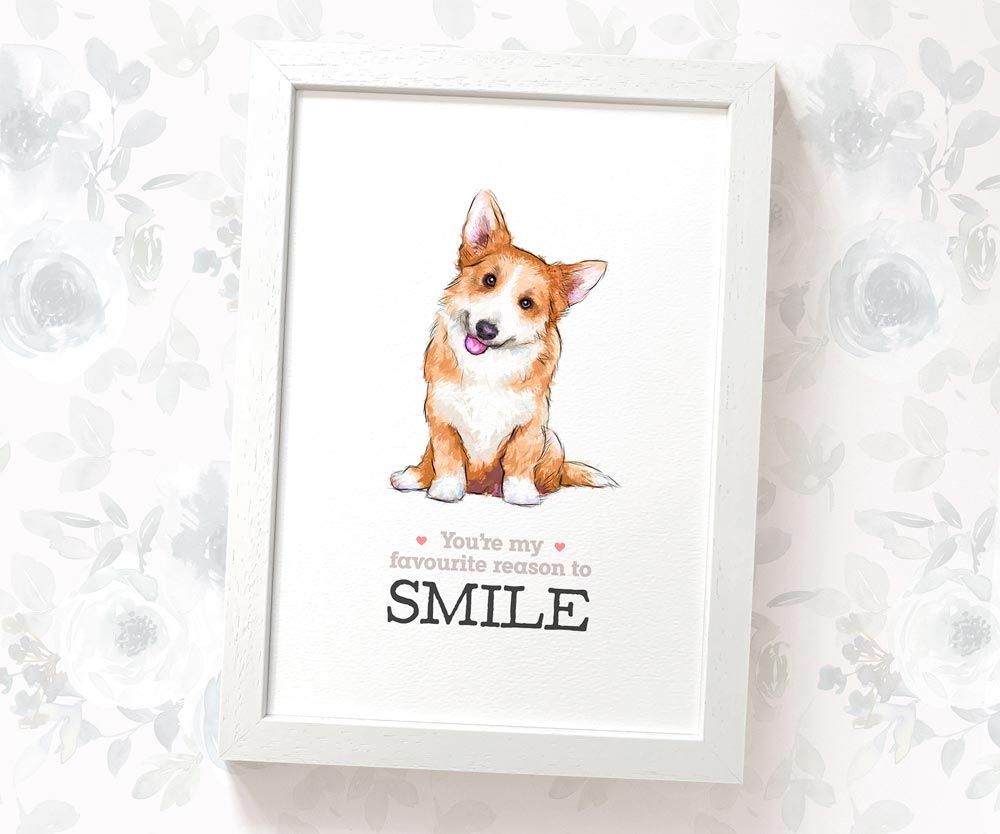 Corgi Smile Art Print | You're my favourite reason to smile - Pawprint Illustration