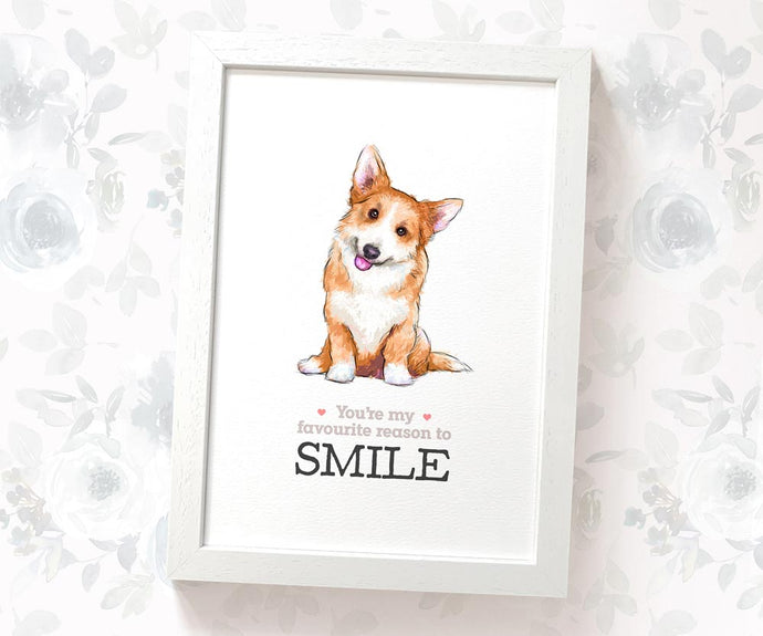 Corgi dog art print with quote