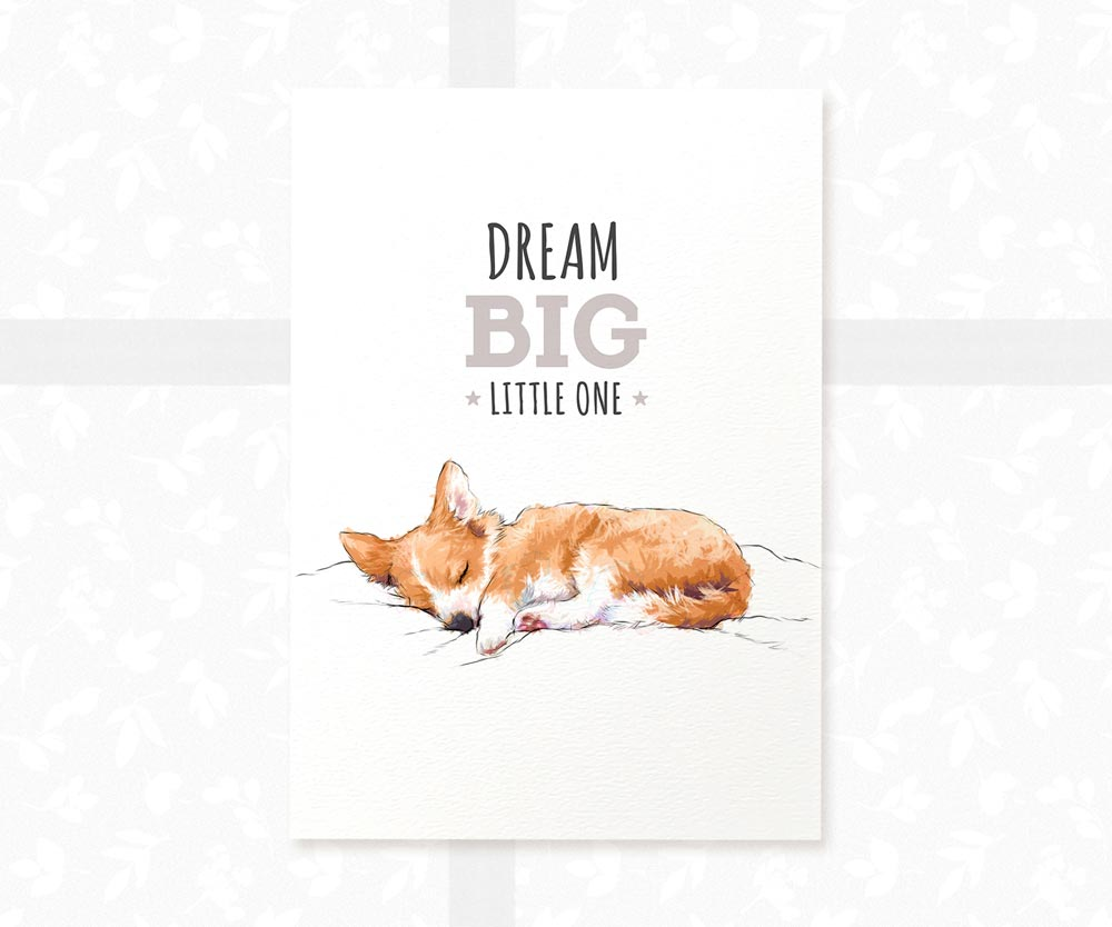 "Corgi Dog Nursery Art with quote ""Dream Big Little One"""