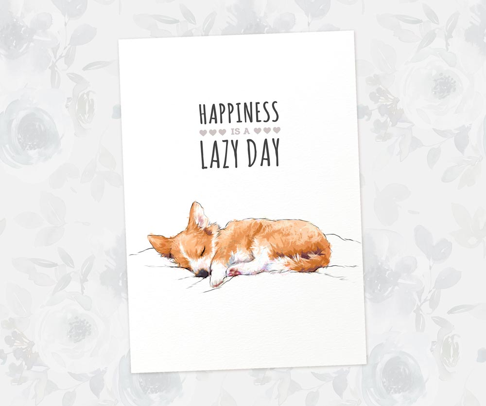 "Corgi Puppy Art Print with Quote ""Happiness is a lazy day"""