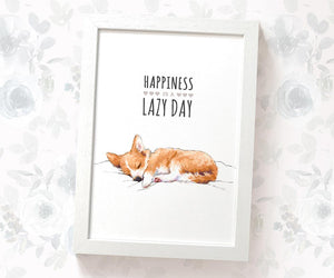 "Corgi Dog Art Print with Quote ""Happiness is a lazy day"""