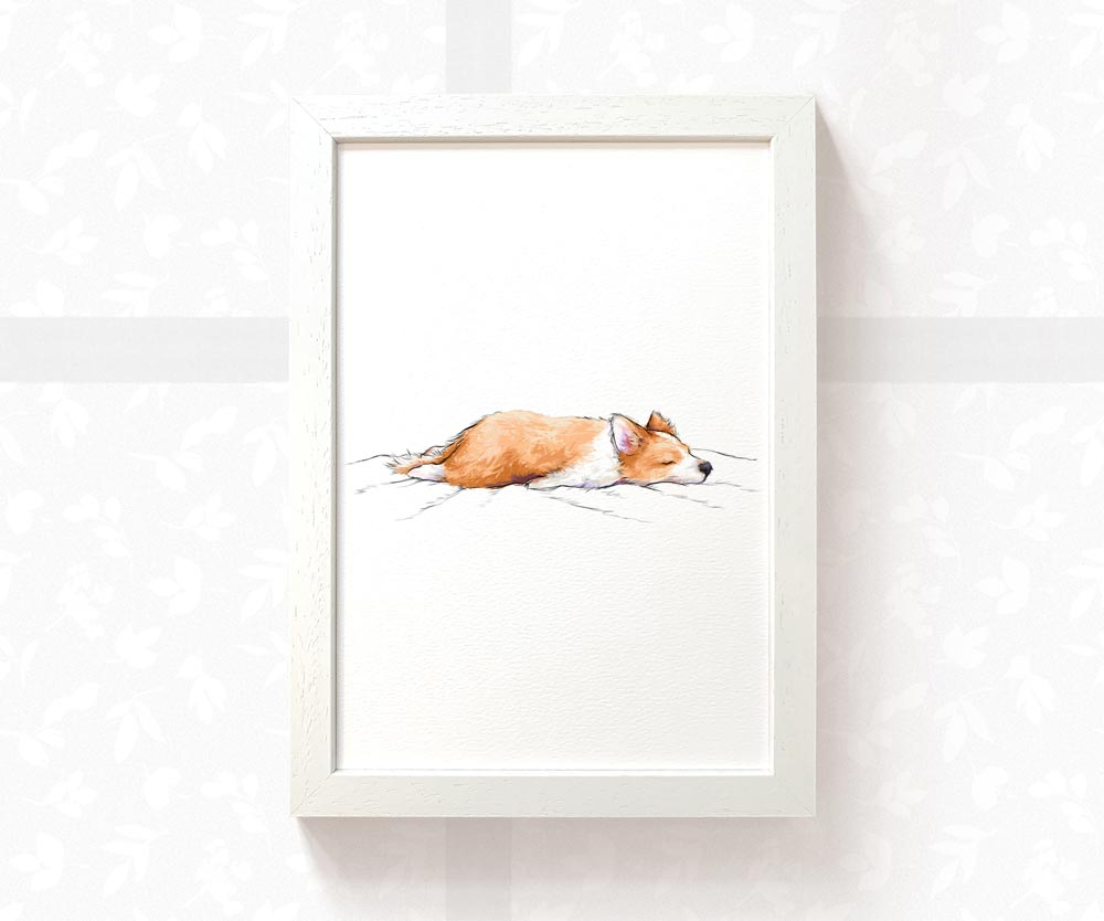 Sleeping Corgi Sploot Art Print