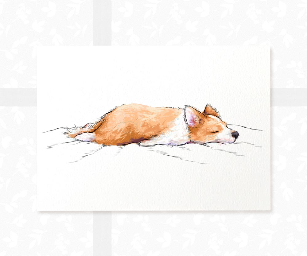 Splooting Corgi Dog Wall Art Print