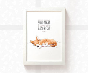 "Corgi Puppy Nursery Print with quote ""Sweet dreams, sleep tight, i love you, goodnight"""
