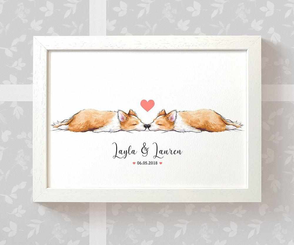 Corgi dog anniversary print with names and date