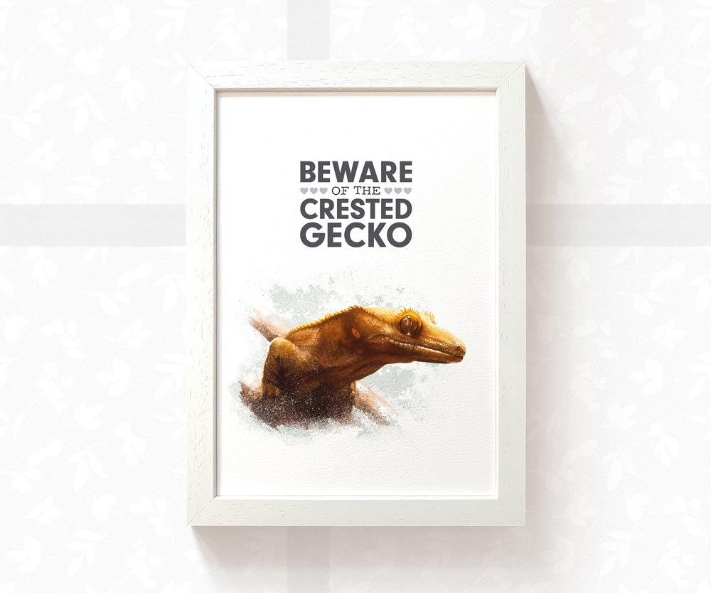 Crested Gecko Art Print with quote