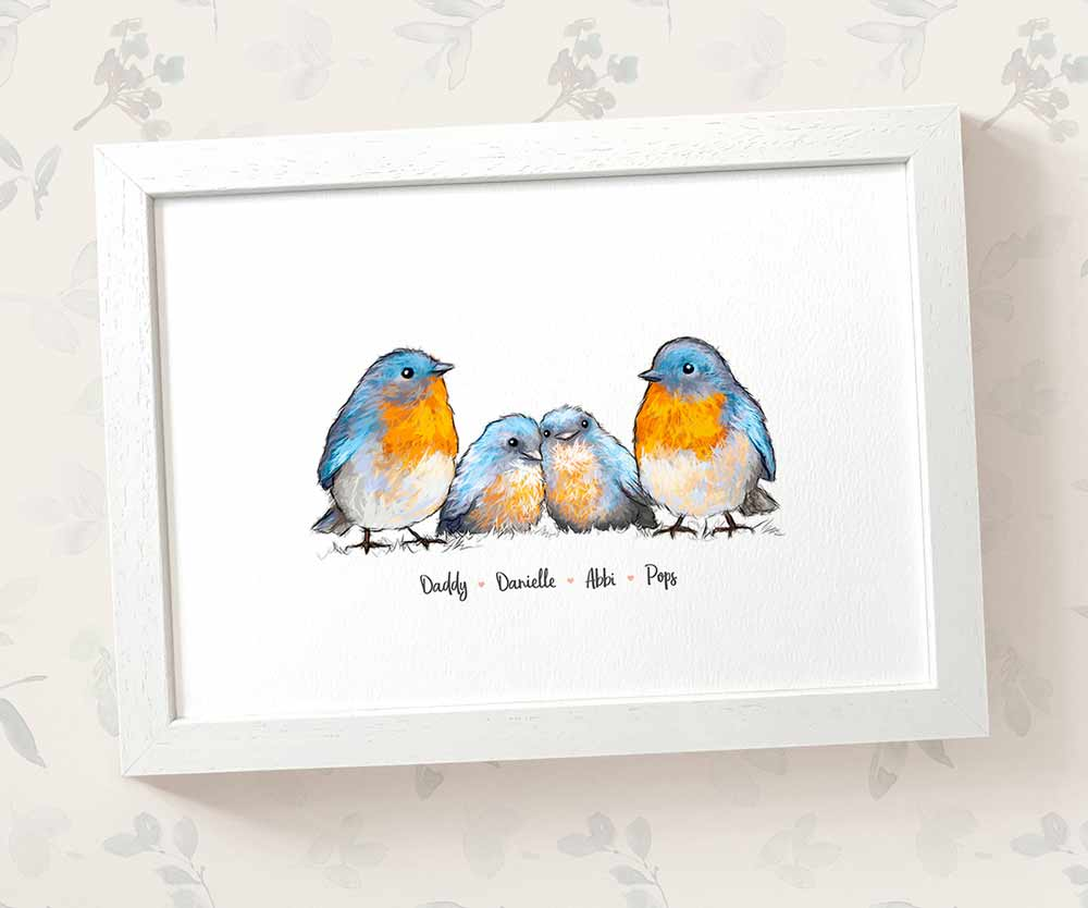 Bluebird Family Nursery Print - Parents and babies