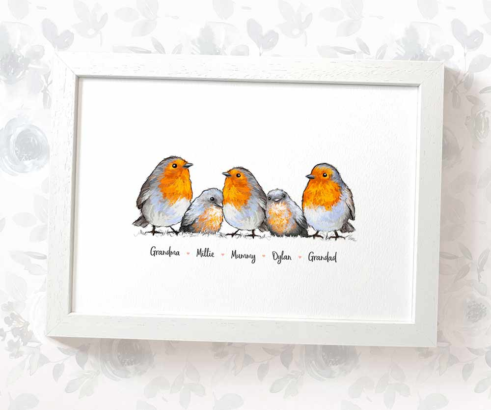 robin family bird print with names
