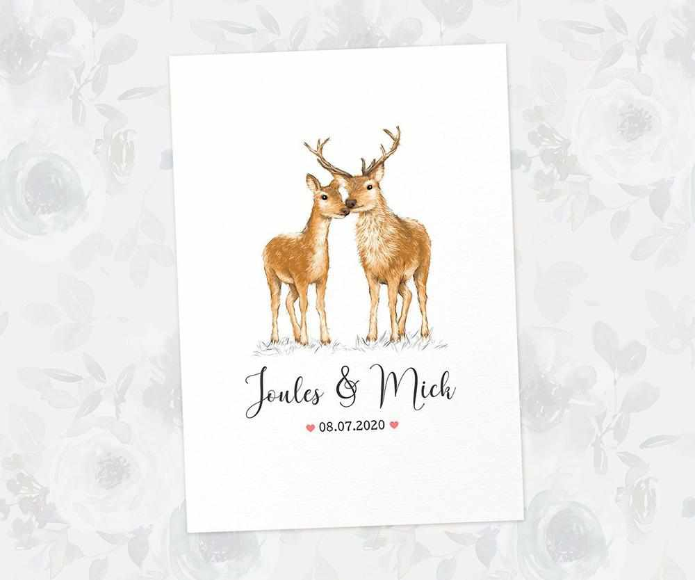 Personalised deer and stag anniversary print