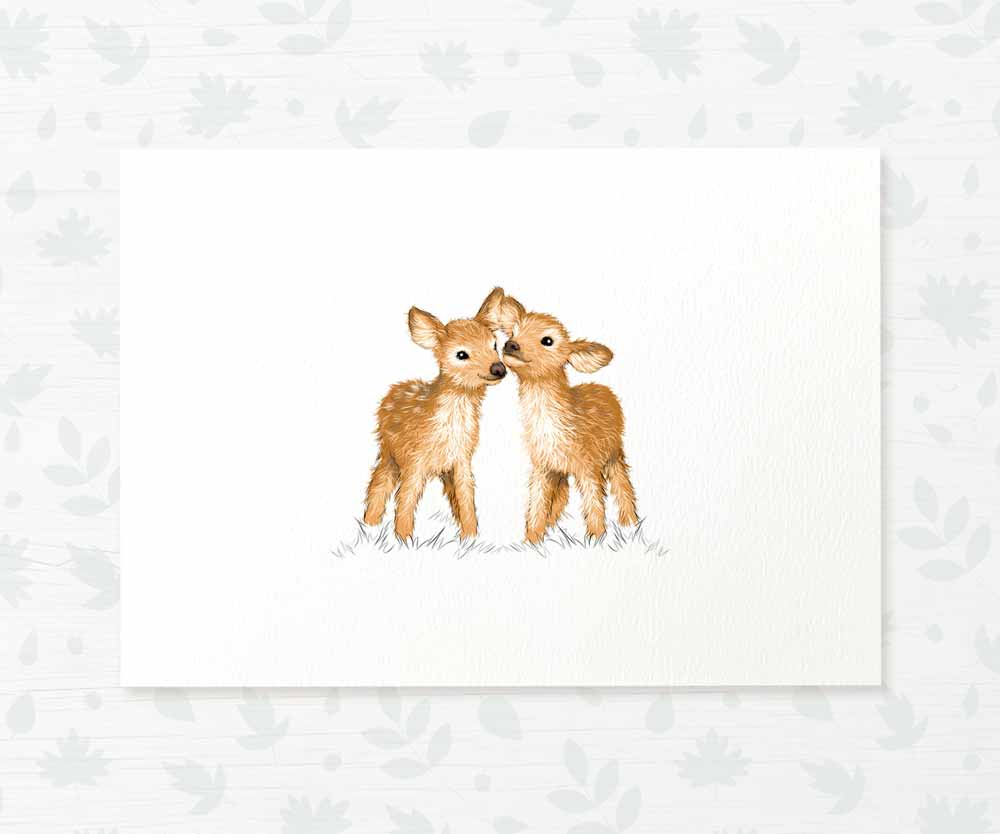 Twin baby deer nursery print