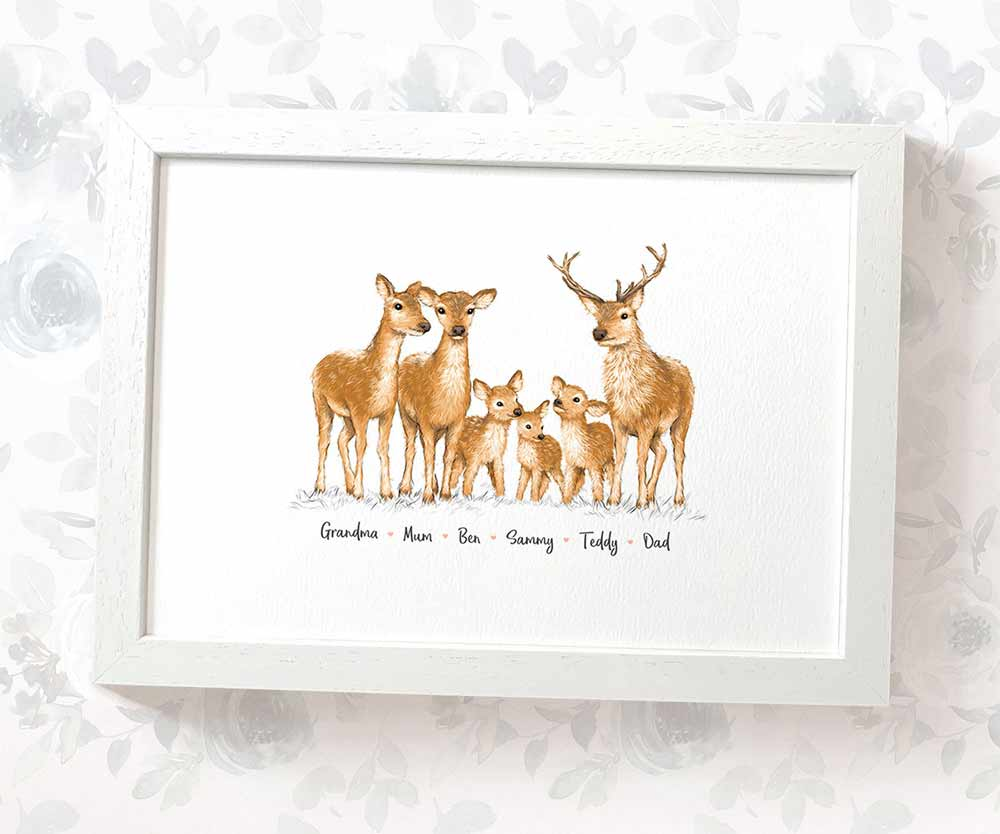 family of Deer art print with names