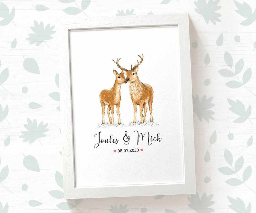 Deer and Stag name and date print