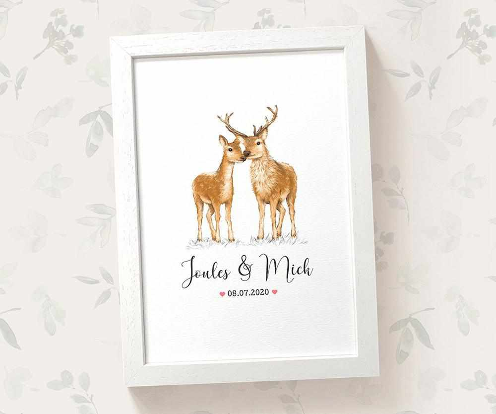 woodland wedding deer and stag print